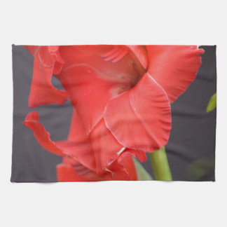 Red Gladiola Flowers Hand Towels