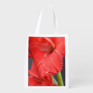 Red Gladiola Flowers Reusable Grocery Bag