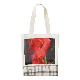 Red Gladiola Flowers Zazzle HEART Tote Bag