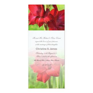 "Red gladioli wedding invitation 4"" x 9.25"" invitation card"