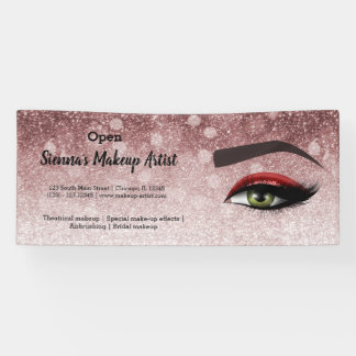 Red glam lashes eyes   makeup artist banner