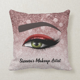 Red glam lashes eyes | makeup artist throw pillow