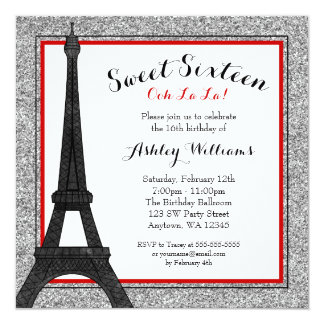 Red Glam Paris Themed Faux Glitter Sweet 16 5.25x5.25 Square Paper Invitation Card