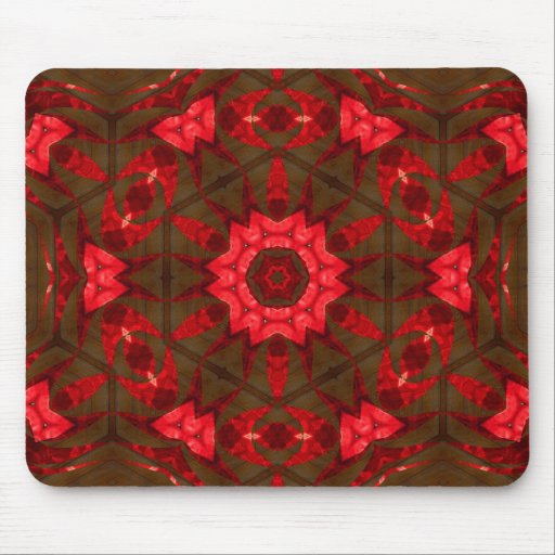 Red glass and wood mouse pad
