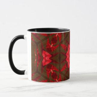 Red glass and wood mug