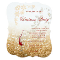 Red Glass Glittery,Corporate Christmas Party Invitation