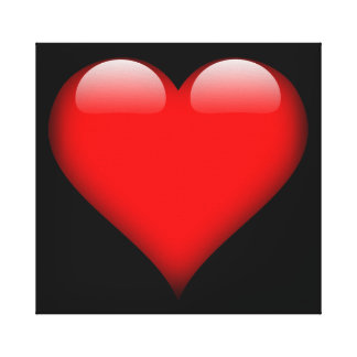 Red Glass Heart Customizable Canvas Print