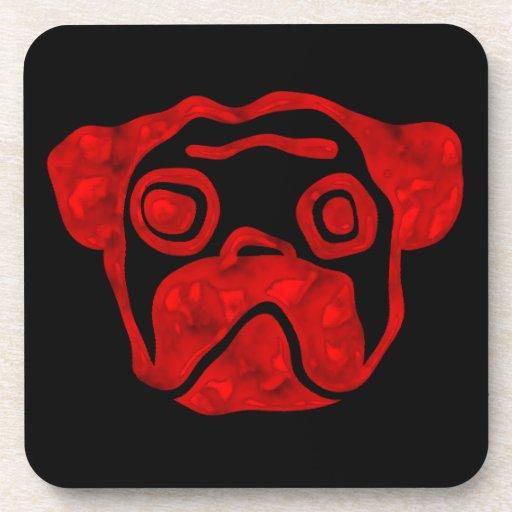 Red Glass Pug Coasters