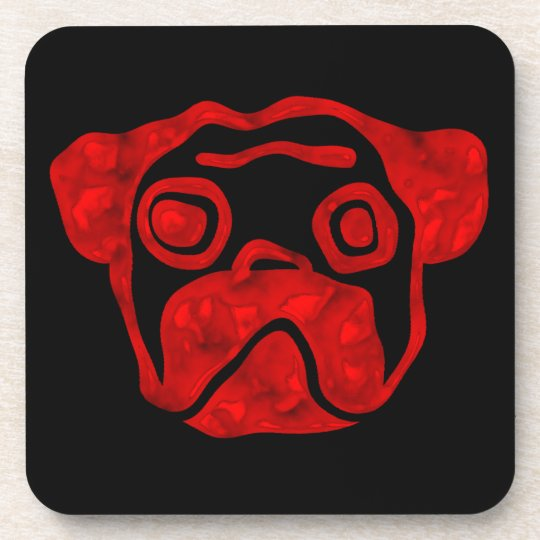 Red Glass Pug Drink Coaster