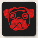 Red Glass Pug Drink Coasters