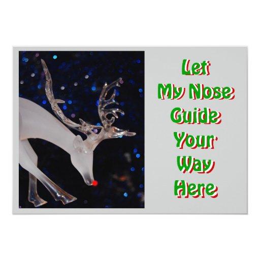 Red Glass Reindeer Christmas Invitation
