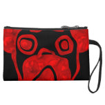 Red Glassy Pug Wristlet Clutch