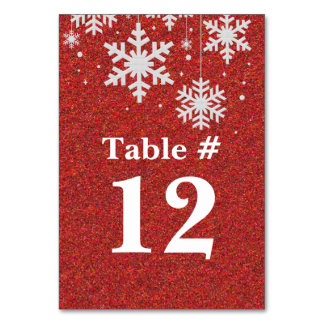 Red Glitter and Snowflakes Holiday Table Number Card