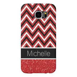 Red Glitter B&W Chevron Galaxy S6 Case