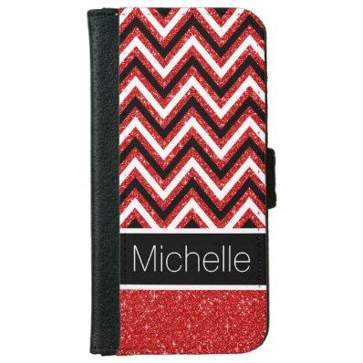Red Glitter B&W Chevron iPhone 6 Wallet Case