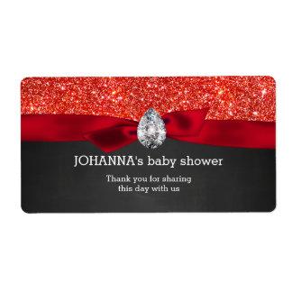 Red Glitter Baby Shower Chalkboard Water Bottle Label