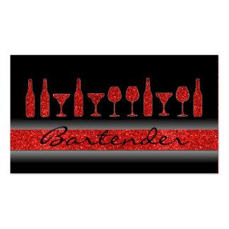 Red glitter bartender drinks business card