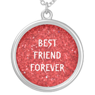 Red Glitter Best Friends Forever Round Pendant Necklace