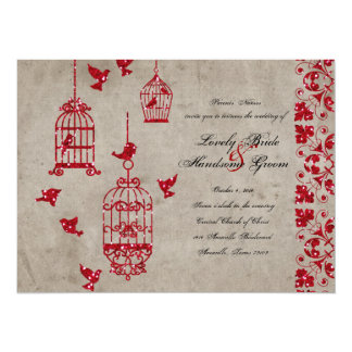 Red Glitter Birds Old Paper Wedding Invitation