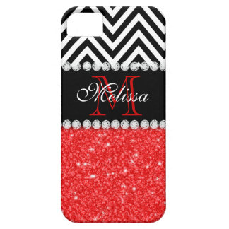 RED GLITTER BLACK CHEVRON MONOGRAMMED iPhone 5 COVER