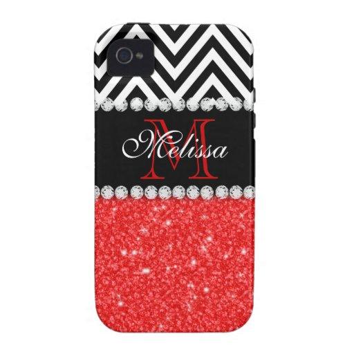 RED GLITTER BLACK CHEVRON MONOGRAMMED VIBE iPhone 4 COVER