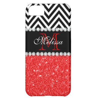 RED GLITTER BLACK CHEVRON MONOGRAMMED iPhone 5C COVERS
