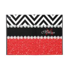 RED GLITTER BLACK CHEVRON MONOGRAMMED iPad MINI CASE