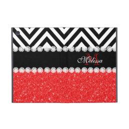 RED GLITTER BLACK CHEVRON MONOGRAMMED iPad MINI CASE
