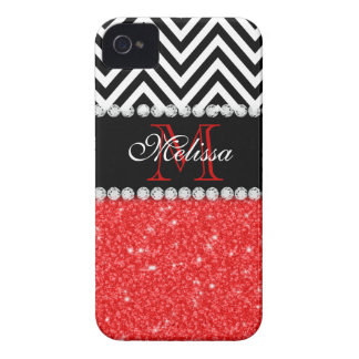RED GLITTER BLACK CHEVRON MONOGRAMMED iPhone 4 Case-Mate CASE