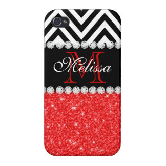 RED GLITTER BLACK CHEVRON MONOGRAMMED iPhone 4 COVER