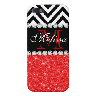 RED GLITTER BLACK CHEVRON MONOGRAMMED iPhone SE/5/5s COVER