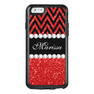 Red Glitter Black Chevron OtterBox iPhone 6 Case