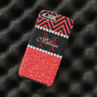 RED GLITTER BLACK CHEVRON STRIPES MONOGRAM 2 TOUGH iPhone 6 CASE