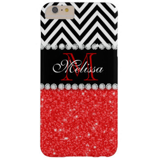 RED GLITTER BLACK CHEVRON STRIPES MONOGRAM BARELY THERE iPhone 6 PLUS CASE