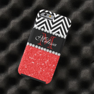 RED GLITTER BLACK CHEVRON STRIPES MONOGRAM TOUGH iPhone 6 CASE