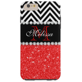 RED GLITTER BLACK CHEVRON STRIPES MONOGRAM TOUGH iPhone 6 PLUS CASE