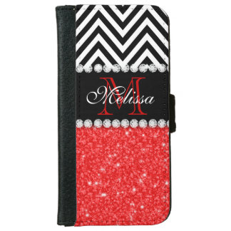 RED GLITTER BLACK CHEVRON STRIPES MONOGRAM WALLET PHONE CASE FOR iPhone 6/6S