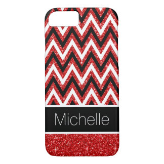 Red Glitter Black Cool White Chevron Pattern iPhone 8/7 Case