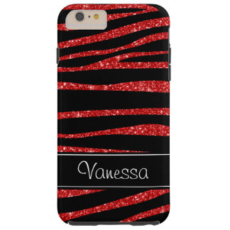Red Glitter Black Zebra iPhone Tough 6 Plus Case