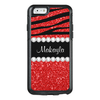 Red Glitter Black Zebra OtterBox iPhone 6/6s Case