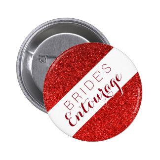 Red glitter bride's entourage bridesmaid button