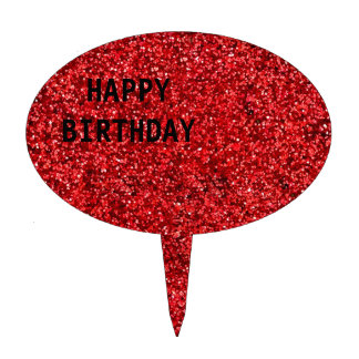 Red Glitter Cake Topper