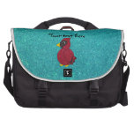 Red glitter cardinal turquoise glitter computer bag