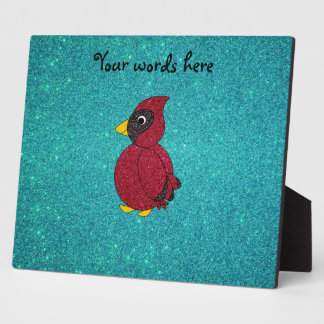 Red glitter cardinal turquoise glitter photo plaques