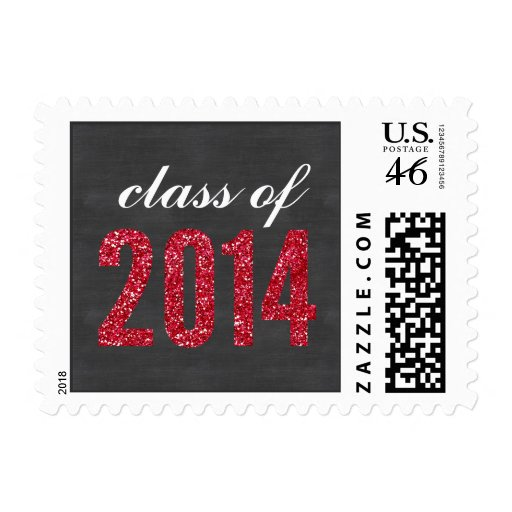 Red Glitter Chalkboard Class of 2014 Graduation Postage Stamps