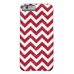 Red Glitter Chevron Pattern Barely There iPhone 6 Case