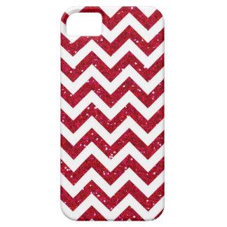 Red Glitter Chevron Pattern iPhone SE/5/5s Case