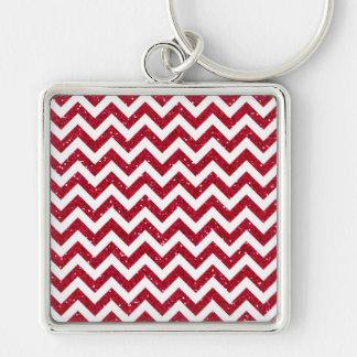 Red Glitter Chevron Pattern Key Chain