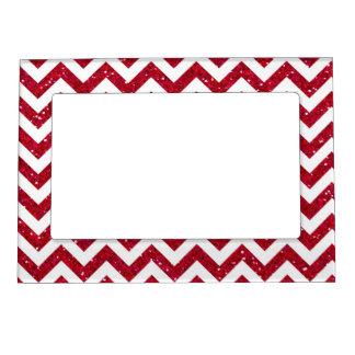 Red Glitter Chevron Pattern Magnetic Frame