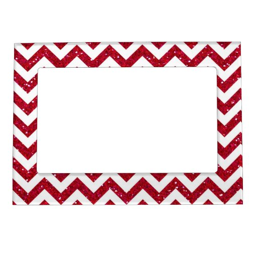 Red Glitter Chevron Pattern Magnetic Photo Frame